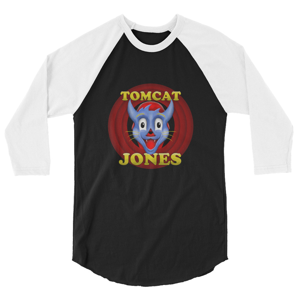 "Tomcat Jones ""Cartoon Logo"" 3/4 sleeve raglan shirt"